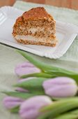 Carrot Cream Cake with tulips