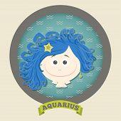 Zodiac signs collection.Cute horoscope - aquarius.