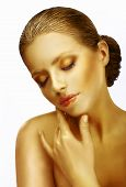 Tenderness. Dreamy Sophisticated Woman With Closed Eyes In Reverie