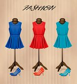 Retro fashion boutique background with colorful dresses and shoes.