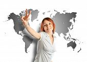 Young Woman Doing Victory Gesture Over Map Background