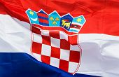 Croatia Flag In Wind In The Sunlight