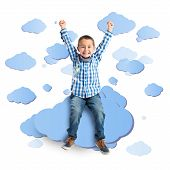 Lucky Boy On A Cloud Over White Background