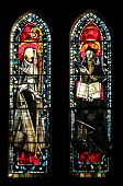 PARIS, NOV 9, 2012: Stained glass in the Church of St. Peter in Montmartre, according to the earlies