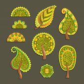 Decorative flat style vector trees