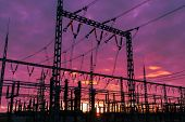 foto of substation  - Electrical substation on the dramatic sunset background