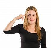 stock photo of sarcasm  - Girl making crazy gesture over white background - JPG