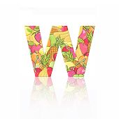 Letter W With Fruit Effect Over White Background
