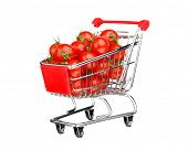 healthy shopping concept - shopping cart with tomatoes, isolated on white