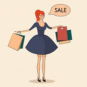 Lady with some bags sale illustration