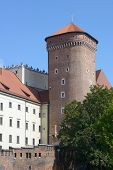 KRAKOW, POLAND - SEPTEMBER 15, 2013: Senator tower of Wawel royal castle in an autumn day. The tower