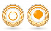 Set Of Two Orange Icons With Symbols