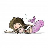 cartoon mermaid with tattoos