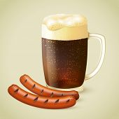 Dark beer and grilled sausage