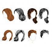 Set Long And Short Hair  Natural And Silhouette Vector