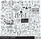 stock photo of food truck  - Large set of different subjects doodle items - JPG