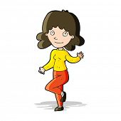cartoon friendly woman waving