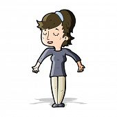cartoon friendly woman shrugging shoulders
