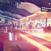 Airport interior with soft instagram effect