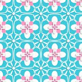 Floristic Turquoise And Pink Tile Ornament