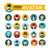 set of 20 flat design avatars icons, for use in mobile applications, website profile picture or in s