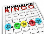 stock photo of insurance-policy  - Insurance Bingo words game card pieces Best Policy coverage - JPG