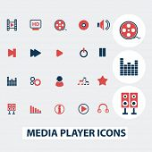 media player, music interface, cinema, movie icons, signs, symbols, vector set