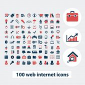 100 web internet icons, signs, symbols, vector set
