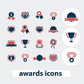 awards, victory, winnter, emblem icons, signs, symbols, vector set