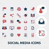 social media, blog, community icons, signs, symbols, vector set