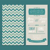 Vector Vintage Invitation card with background zigzag, letters, type, ribbons and heart. Easy to edi