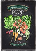 Chalkboard organic natural food, vegetables background. Eps10