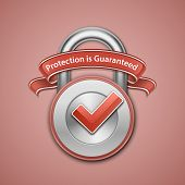 Vector illustration of metallic padlock with check mark and label. Protection guaranteed sign. Secur