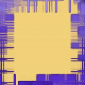 Abstract Yellow Background With Purple Checkered Pattern As Frame Border.