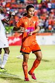 Sisaket Thailand-july 6: Sarayuth Chaikamdee Of Sisaket Fc. (orange) In Action During Thai Premier L