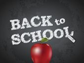image of red back  - Back to school poster with text on chalkboard and apple - JPG