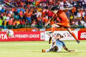 Sisaket Thailand-july 6: Gorka Unda Of Sisaket Fc. (orange) In Action During Thai Premier League Bet