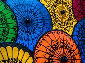 Colorful Asian Umbrellas At Traditional Burmese Street Market