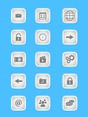 Collection of icons for mobile applications and web in light grey design
