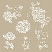 Old lace ornamental flowers. Vector elements.
