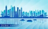 Dubai Marina City Skyline Silhouette Background