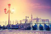 Amazing view of Grand Canal at sunset with San Giorgio Maggiore church. San Marco, Venice, Italy, Eu