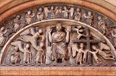 PARMA, ITALY - MAY 01, 2014: Christ in Majesty.Tympanum of the Baptistery in Parma from Benedetto Antelami.Baptistery in Parma is considered to be among the most important Medieval monuments in Europe