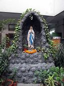 KOLKATA, INDIA - JAN 27: Statue of Our Lady of Lourdes at Mother House, where Mother Teresa used to