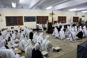 KOLKATA, INDIA - FEBRUARY 15: Sisters of The Missionaries of Charity of Mother Teresa at Mass in the