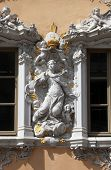 WURZBURG, GERMANY - JULY 18: Virgin Mary, House of Falcon, the finest Rococo style building in the c