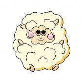 Fun sheep on white background.
