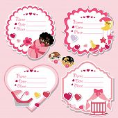 Label Set With Newborn Baby Girl And Baby Shower