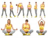 beautiful happy young pregnant woman engaged in fitness. Isolated on white background. Set photos