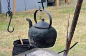 Old black outdoor Kettle